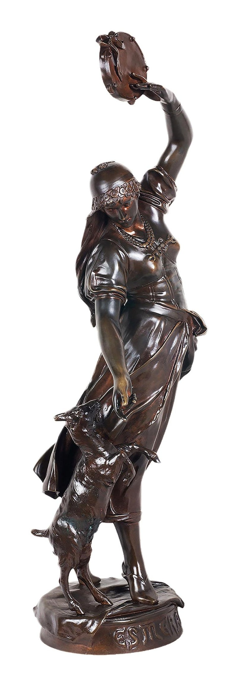 A fine quality 19th century patinated bronze statue of Esmeralda.  Esmeralda, born Agnès, is a fictional character in Victor Hugo's 1831 novel The Hunchback of Notre-Dame. She is a French Roma girl. She constantly attracts men with her seductive