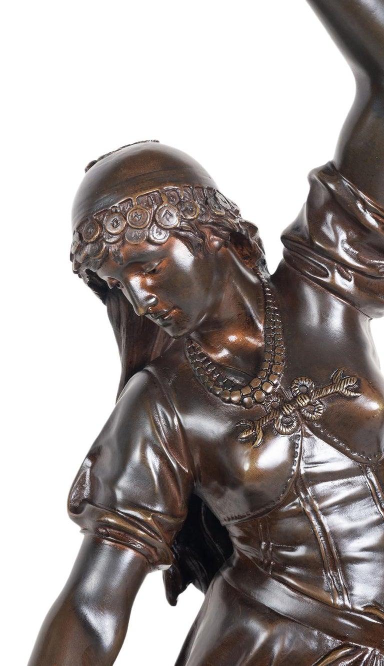 Romantic 19th Century Bronze Statue of Esmeralda, by Marioton For Sale