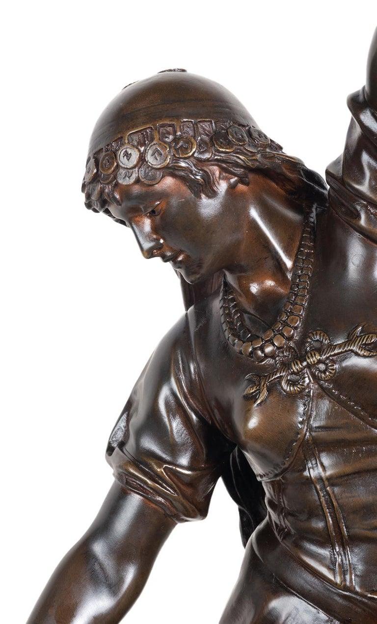 Patinated 19th Century Bronze Statue of Esmeralda, by Marioton For Sale