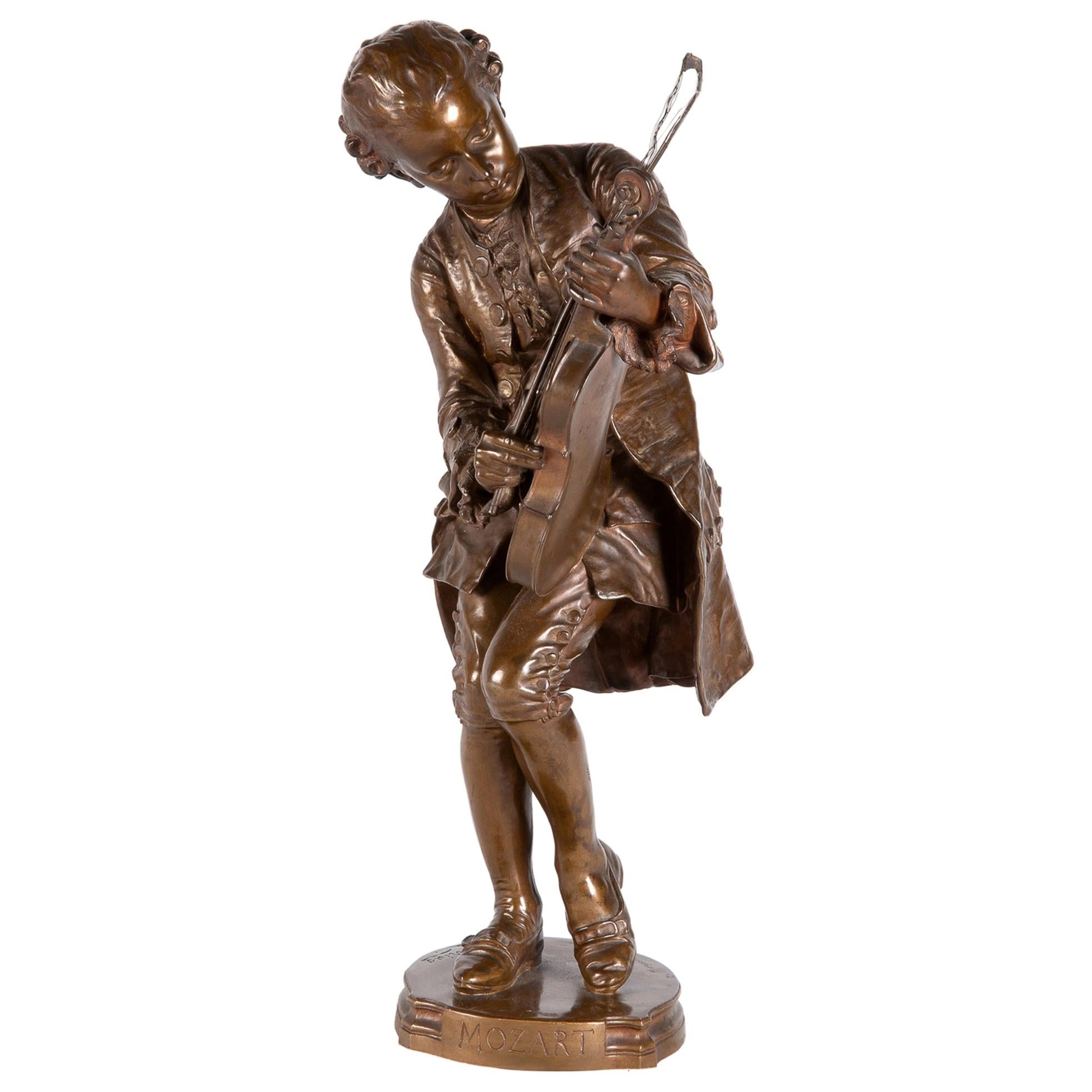 19th Century Bronze Statue of Mozart, by Barbedienne