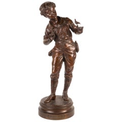 19th Century Bronze Statue of Young Boy, Entitled 'Lesson in Song' by E Carlier