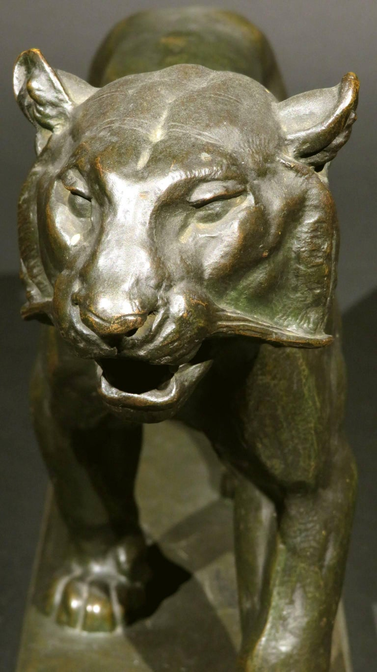 Patinated 19th Century Bronze Striding Tiger (Tigre qui Marche) by Antoine Louis Barye For Sale