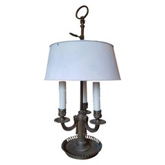 19th Century Bronze Three-Arm Bouillotte Lamp with White Tole Shade