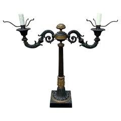 19th Century Bronze Two-Arm Lamp