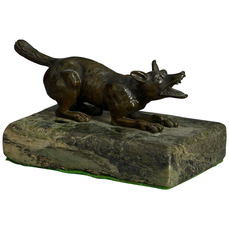 19th Century Bronze Wolf Sculpture