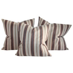 19th Century Brown and Blue Ticking Pillows, 3