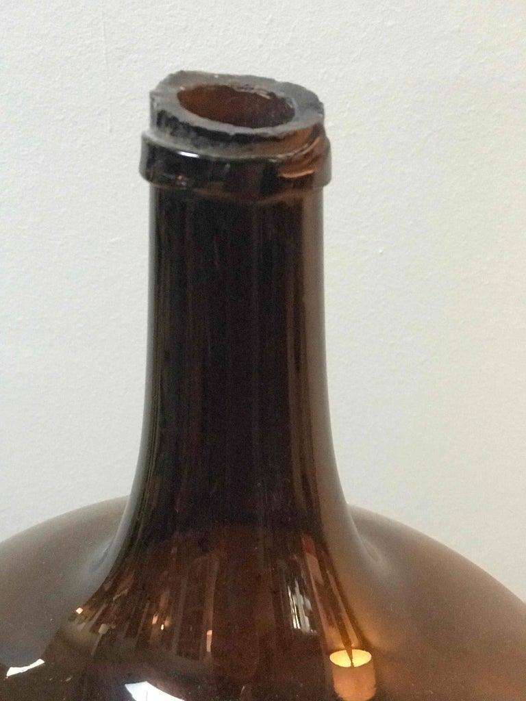 19th Century Brown Blown Glass Bottle or Spirit Keg from Burgundy, France