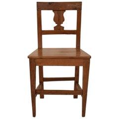 19th Century Brown Elm and Walnut Italian Biedermeier Wabi Sabi Side Chair, 1820