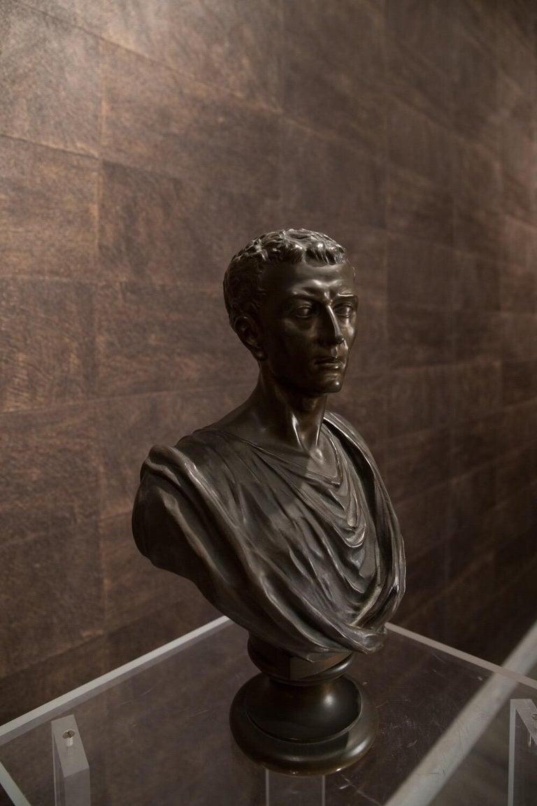 Grand Tour 19th Century Brown Italian Bronze Roman Sculpture Bust, 1820 For Sale