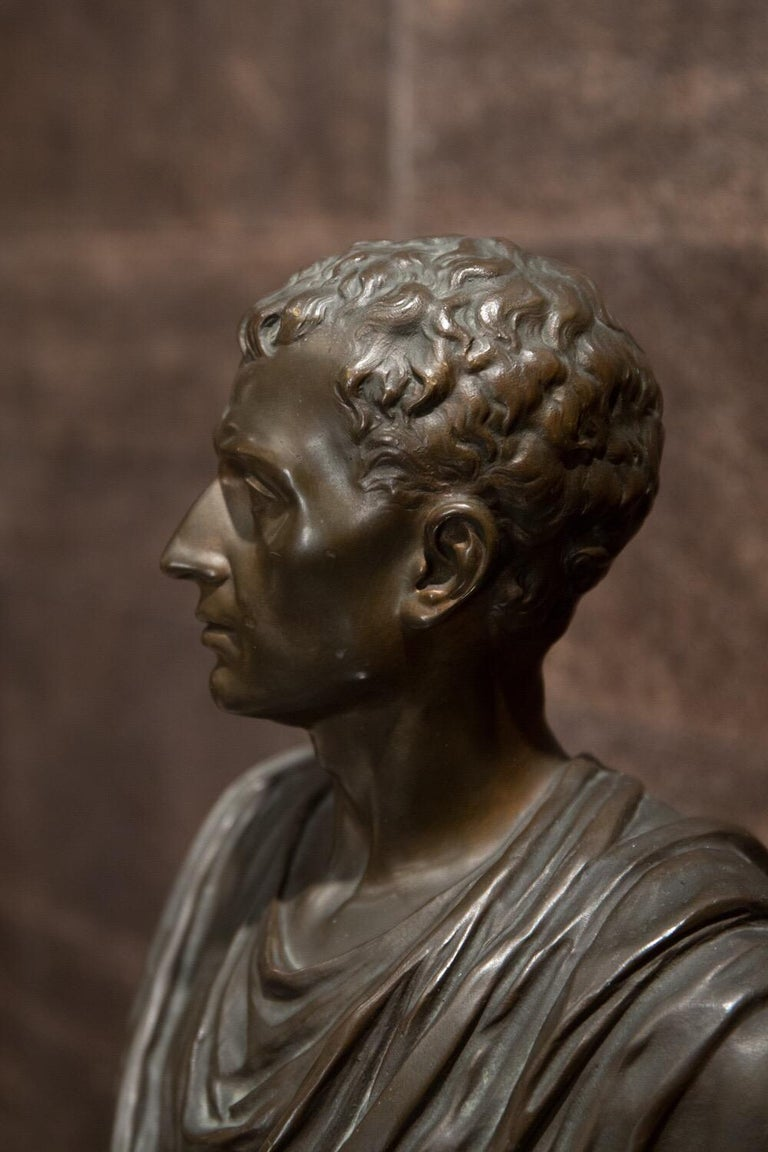 19th Century Brown Italian Bronze Roman Sculpture Bust, 1820 In Good Condition For Sale In Roma, IT