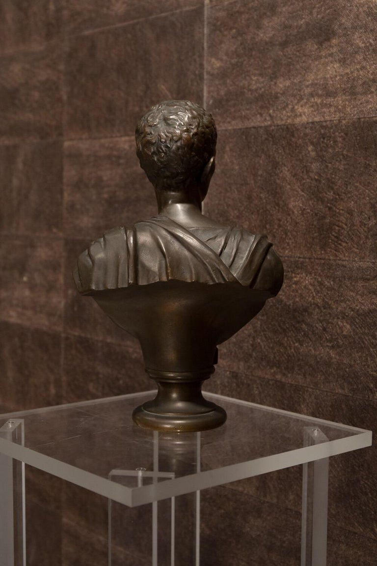 Early 19th Century 19th Century Brown Italian Bronze Roman Sculpture Bust, 1820 For Sale