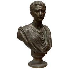 19th Century Brown Italian Bronze Roman Sculpture Bust, 1820