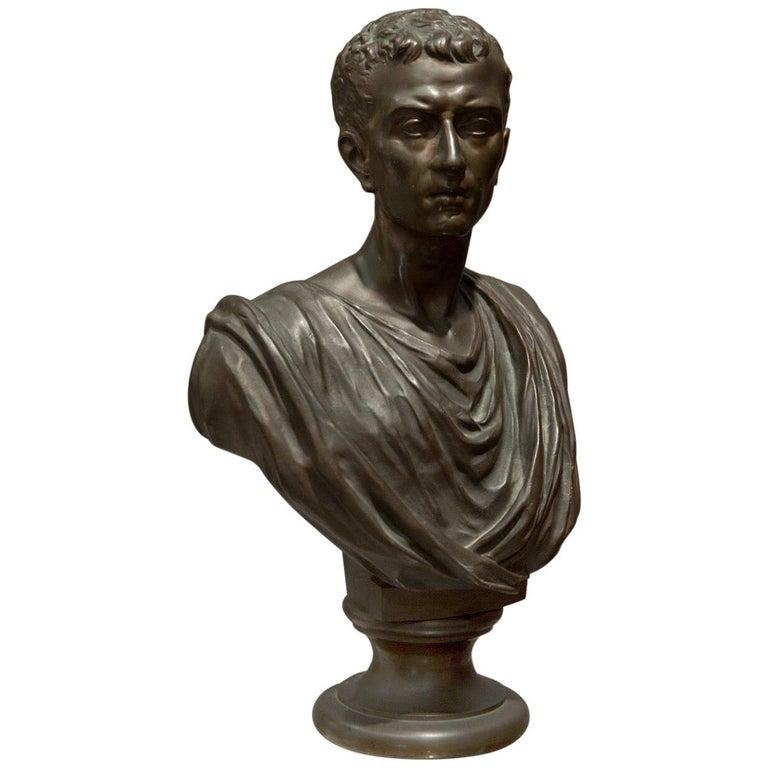 19th Century Brown Italian Bronze Roman Sculpture Bust, 1820 For Sale