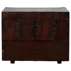 19th Century Brown Lacquered Wood Korean Cabinet with Traditional Brass Hardware