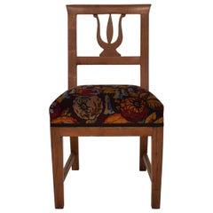 19th Century Brown Walnut Italian Upholstered Biedermeier Side Chair, 1820