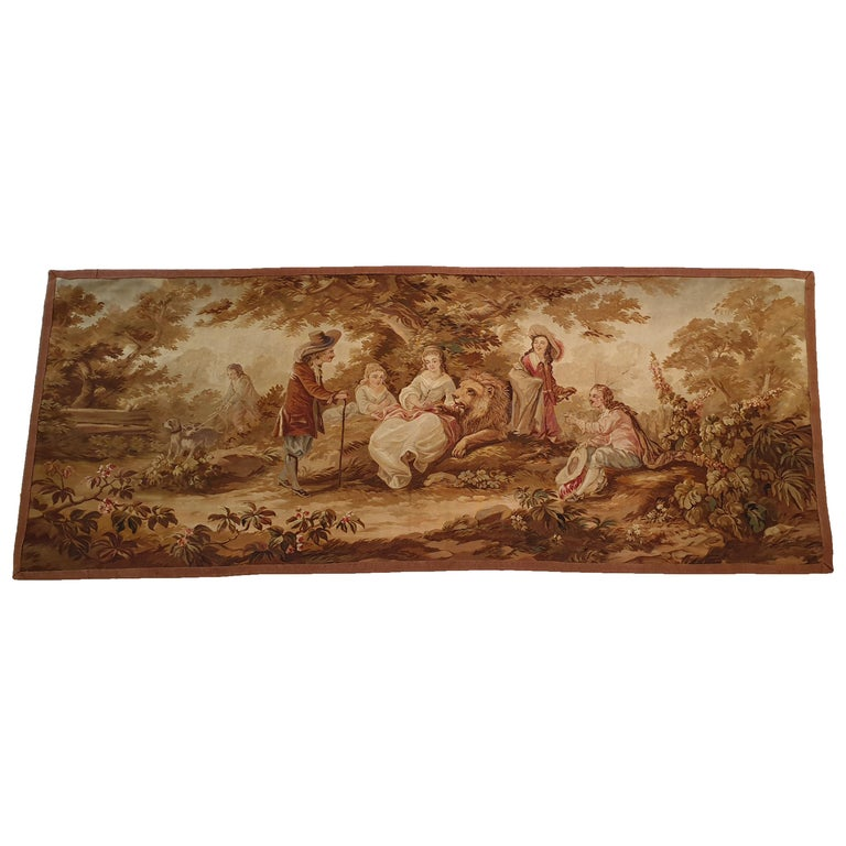 """704 - 19th Century Brussels Handwoven Tapestry """"The Lion Is The King"""" For Sale"""