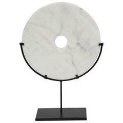 "19th Century Buddhist Disc ""Symbol of Perfection"", White Stone"