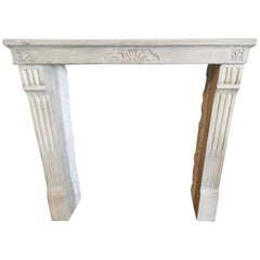 19th Century Burgundy Stone Louis XVI Fireplace