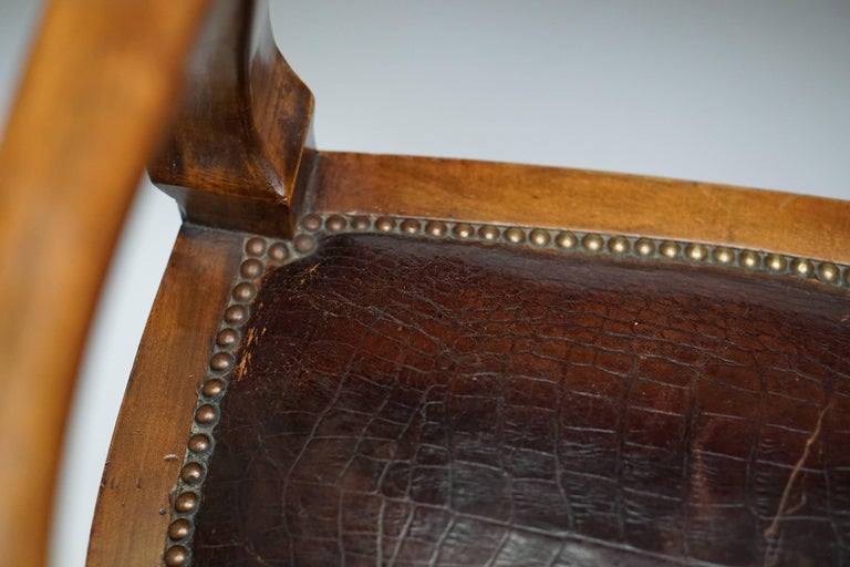 19th Century Burl Walnut Partner's Desk with Armchair For Sale 4