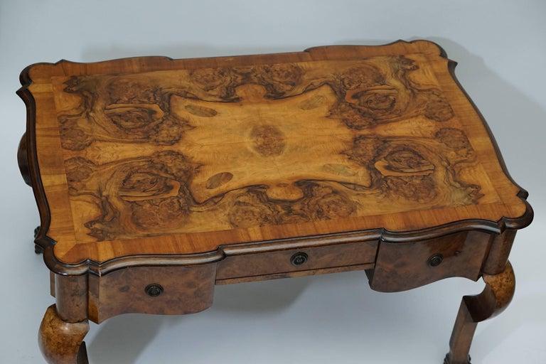 Queen Anne 19th Century Burl Walnut Partner's Desk with Armchair For Sale