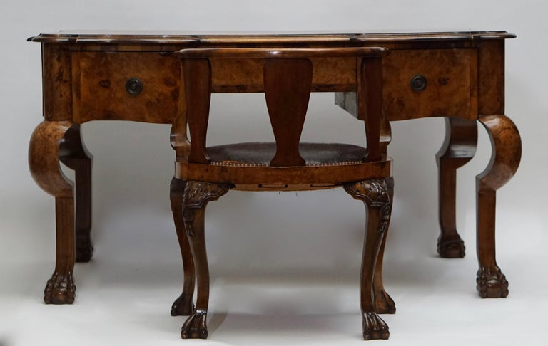 English 19th Century Burl Walnut Partner's Desk with Armchair For Sale