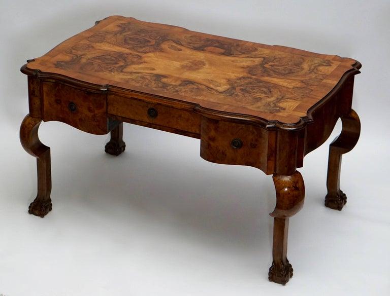 Brass 19th Century Burl Walnut Partner's Desk with Armchair For Sale