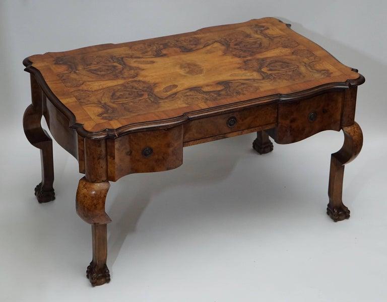 19th Century Burl Walnut Partner's Desk with Armchair For Sale 1