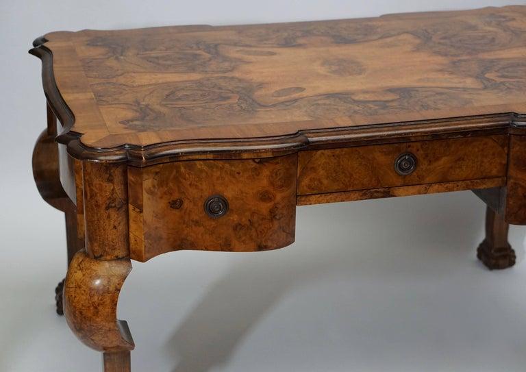 19th Century Burl Walnut Partner's Desk with Armchair For Sale 2