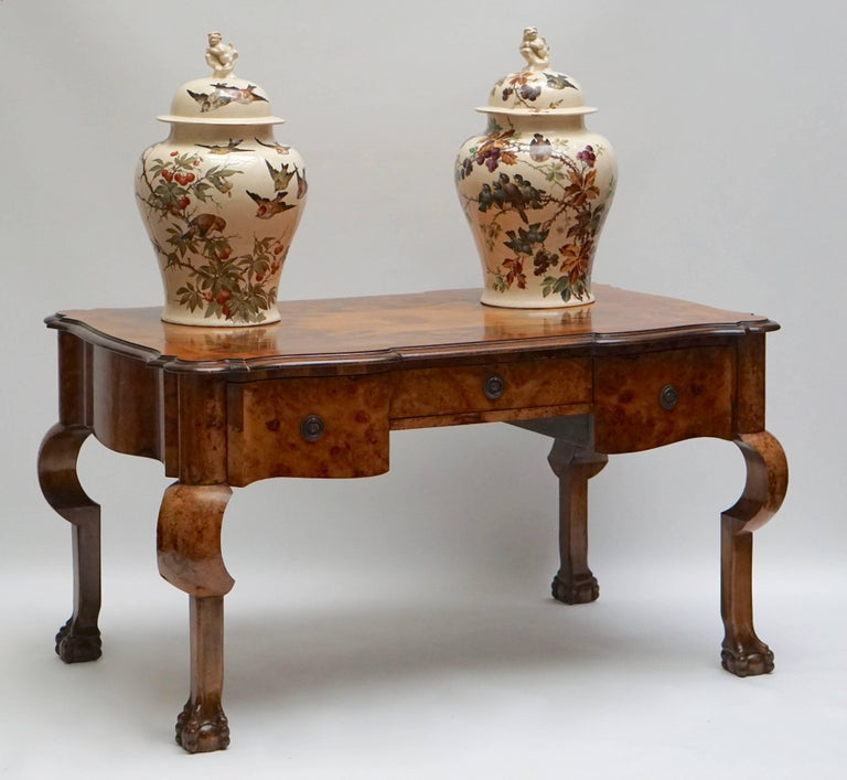 19th Century Burl Walnut Partner's Desk with Armchair For Sale 3