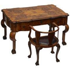 19th Century Burl Walnut Partner's Desk with Armchair