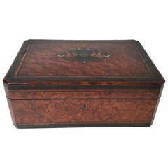 19th Century Burl Wood Box with Inlaid Decoration and Tufted Blue Silk Interior