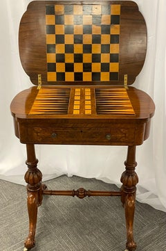 19th Century Burl Wood Chess, Checker, Backgammon & Domino Card Game Table