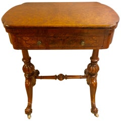 19th Century Burl Wood Chess, Checker, Backgammon & Domino Card Game Table