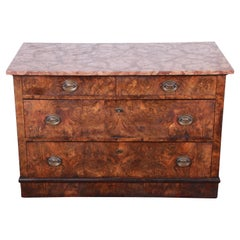 19th Century Burled Walnut Marble Top Commode or Chest of Drawers