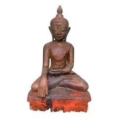 19th Century Burmese Carved Wooden Buddha