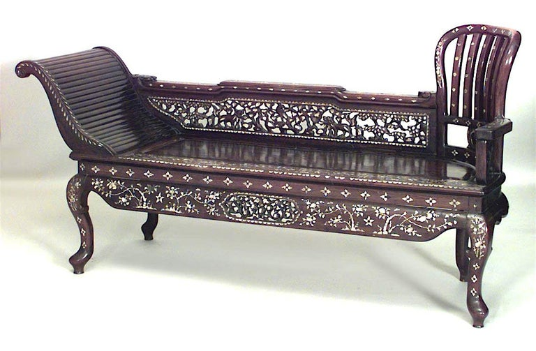 Nineteenth century Burmese recamier composed of rosewood inlaid with mother of pearl designs.