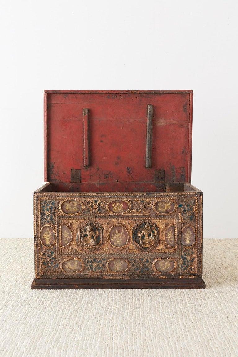 19th Century Burmese Mandalay Gilt Chest or Trunk For Sale 6