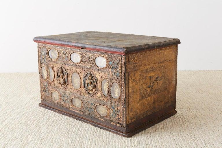 19th Century Burmese Mandalay Gilt Chest or Trunk For Sale 9