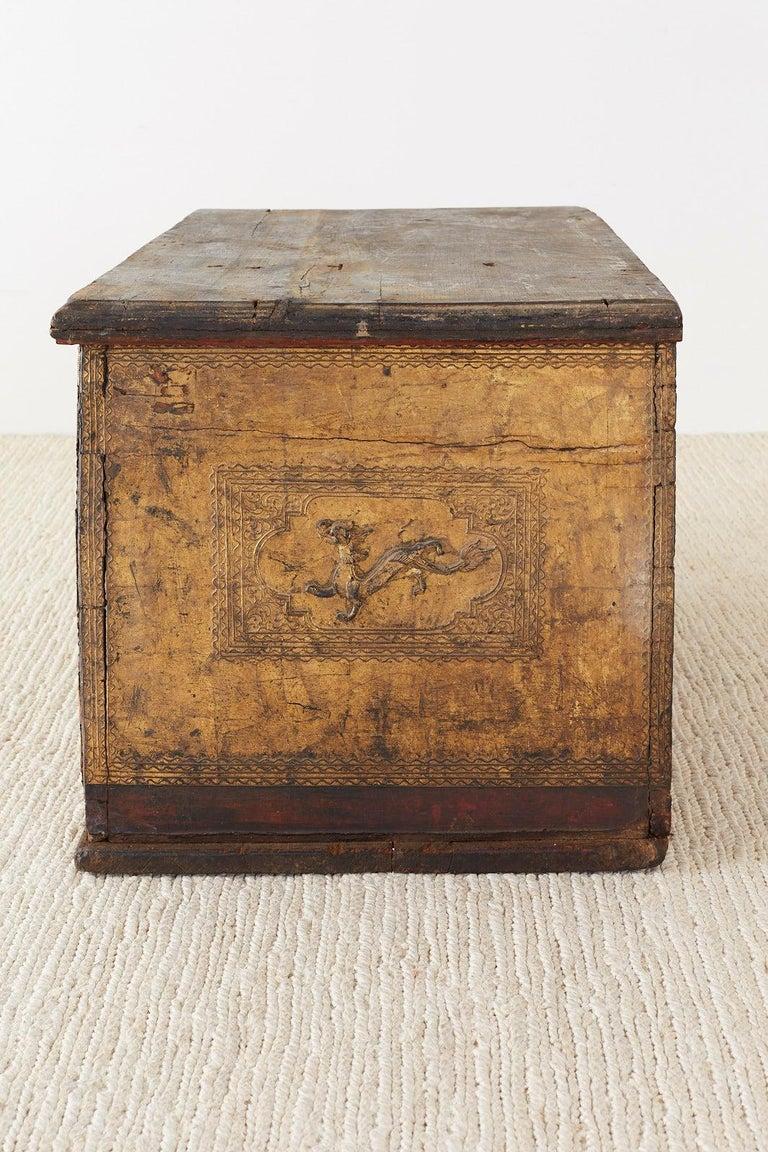 19th Century Burmese Mandalay Gilt Chest or Trunk For Sale 10
