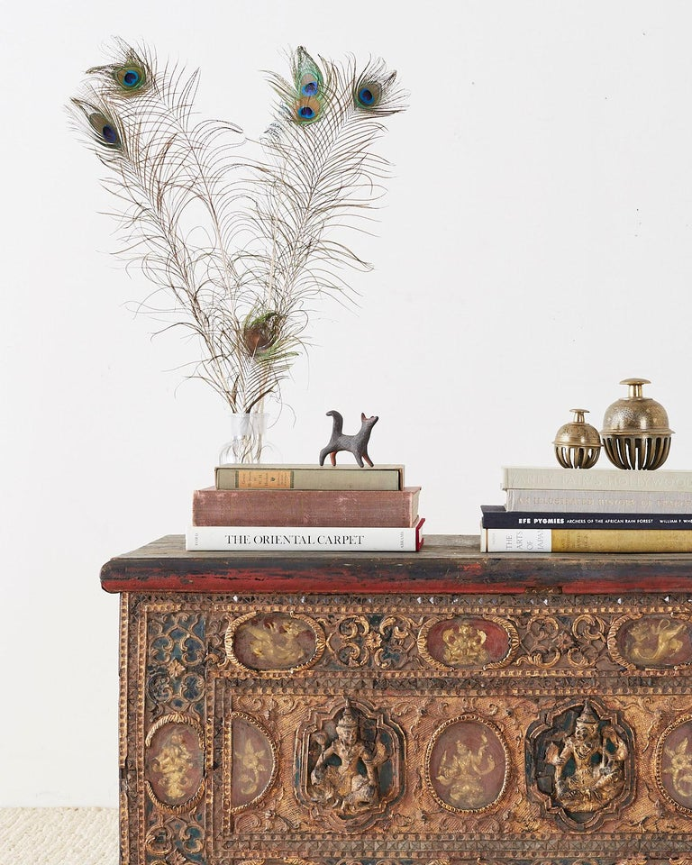 19th Century Burmese Mandalay Gilt Chest or Trunk In Distressed Condition For Sale In Oakland, CA