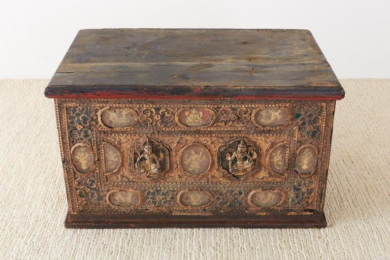 Lacquer 19th Century Burmese Mandalay Gilt Chest or Trunk For Sale