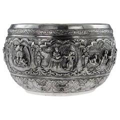 19th Century Burmese Silver Thabeik Bowl, Rangoon, circa 1880