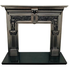 19th Century Burnished Cast Iron Fireplace Mantlepiece