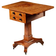 19th Century Burr Ashwood Work Table with Drop Leaf Sides and Drawers
