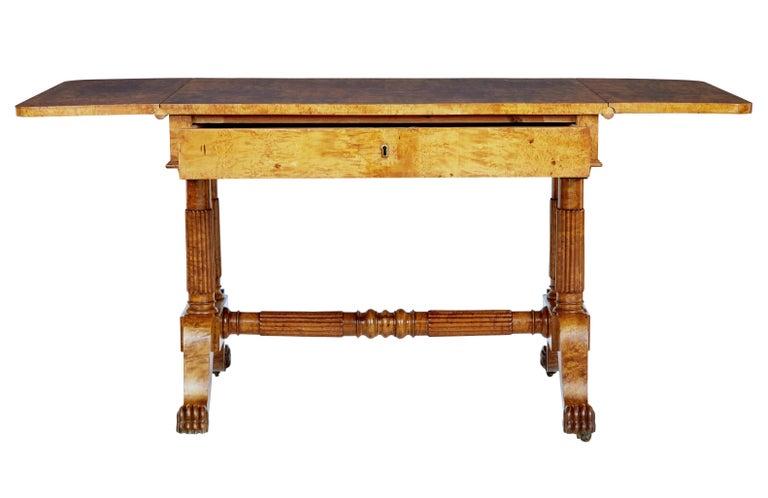 Woodwork 19th Century Burr Birch Biedermeier Sofa Table For Sale