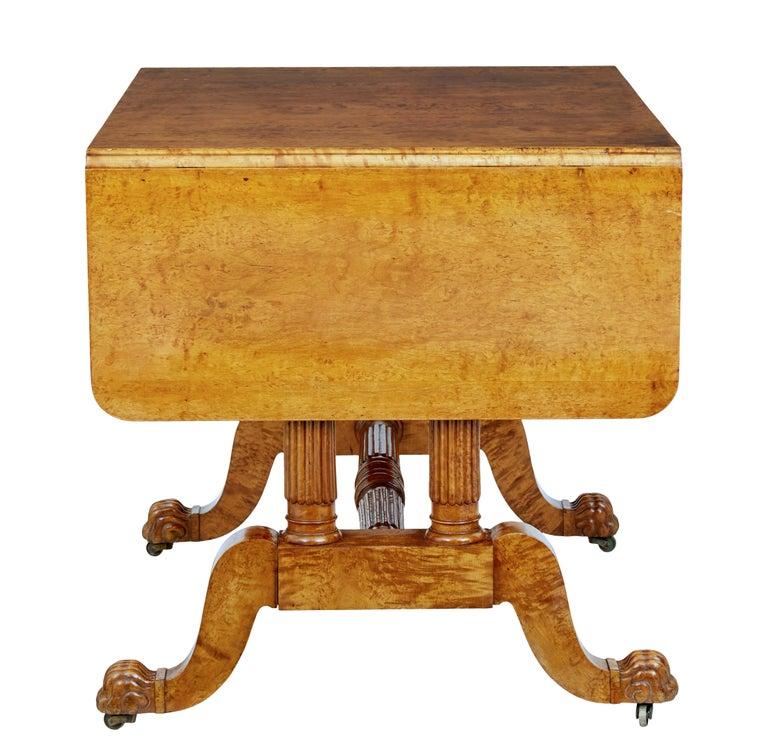 19th Century Burr Birch Biedermeier Sofa Table In Good Condition For Sale In Debenham, Suffolk