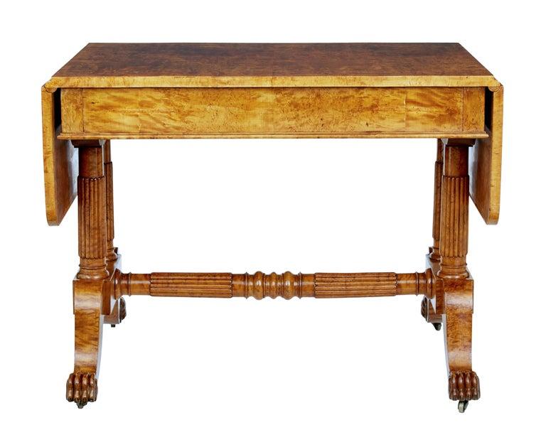 19th Century Burr Birch Biedermeier Sofa Table For Sale 1