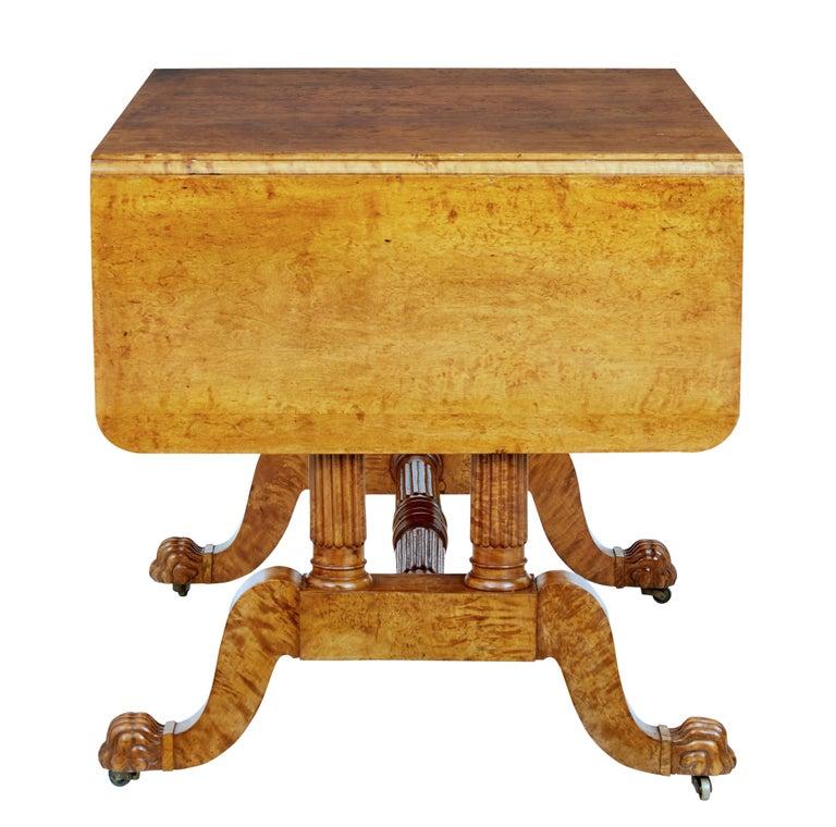 19th Century Burr Birch Biedermeier Sofa Table For Sale 2