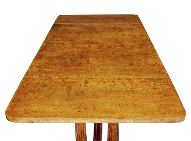 19th Century Burr Birch Biedermeier Sofa Table For Sale 3