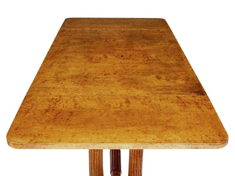 19th Century Burr Birch Biedermeier Sofa Table For Sale 4
